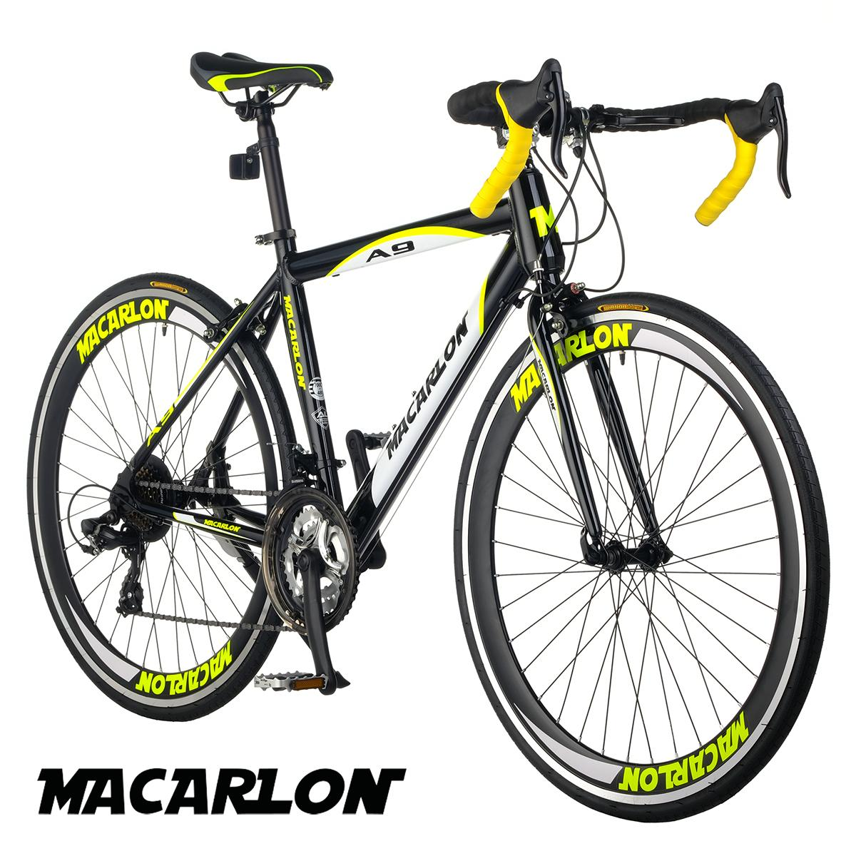 Macarlon A9 700C Shimano 21-Speed Alloy Road Bike (Satin Black/Neon Yellow)