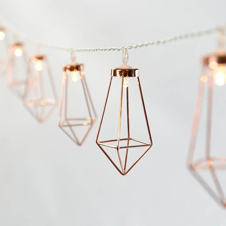 3m 20 Leds Led String Light Romantic Rose Gold Metal Diamond Water Drip Patio Lantern For Party Holiday Christmas Decor By Lucky-King.