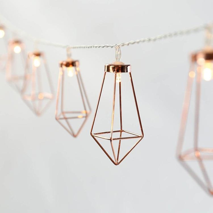 Lights & Lighting 3m 20led Rose Gold Metal Diamond String Fairy Light Christmas Wedding Lamp New Year Decoration Warm White String Lights