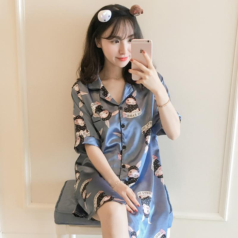 69751e139dc1 Nightgown Women's Summer Ice Silk Short Sleeve Sexy Loose And Plus-sized  Fat Mm200 Jin