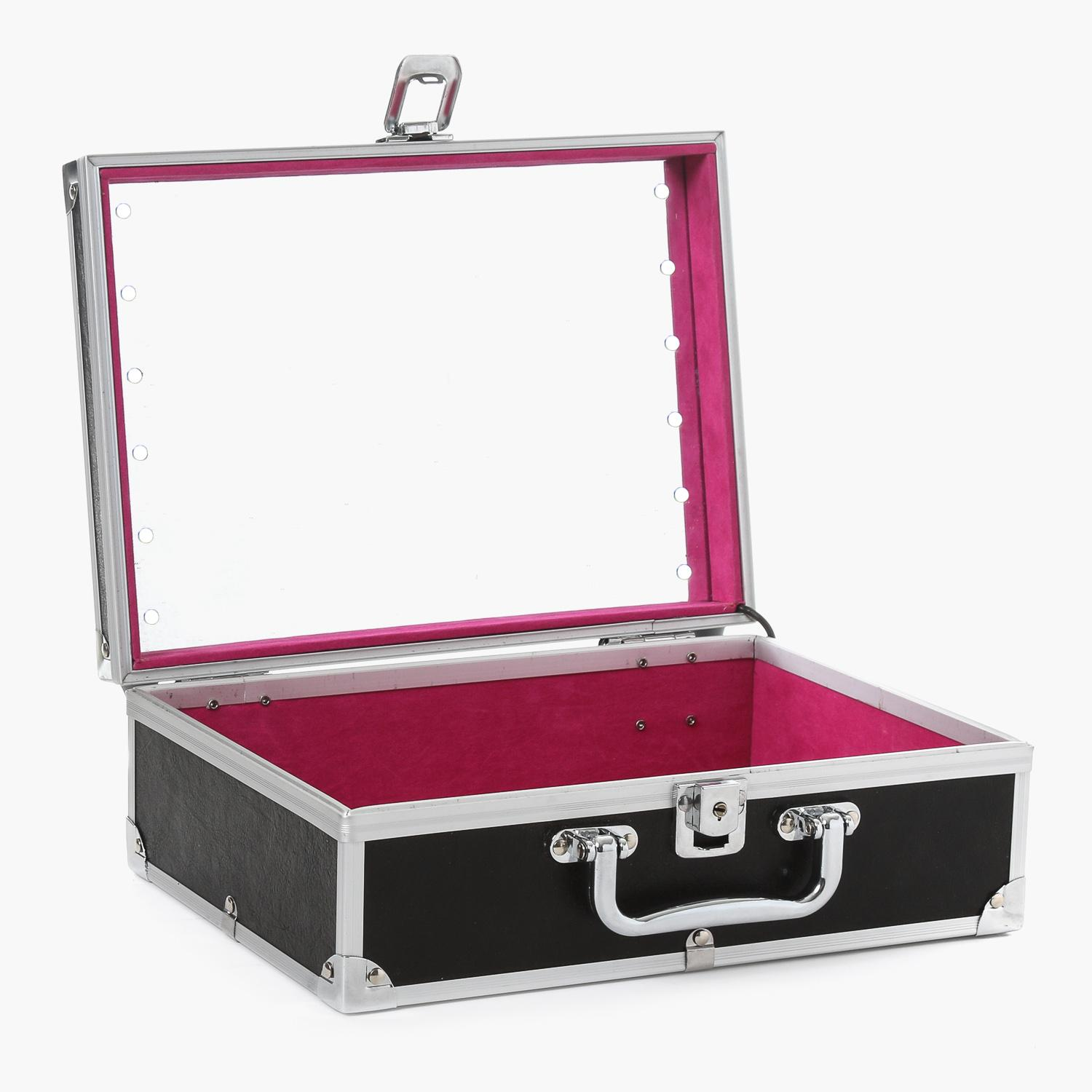 Travel Basic Ladies Cosmetic Case With Mirror And LED Light (Black) Philippines