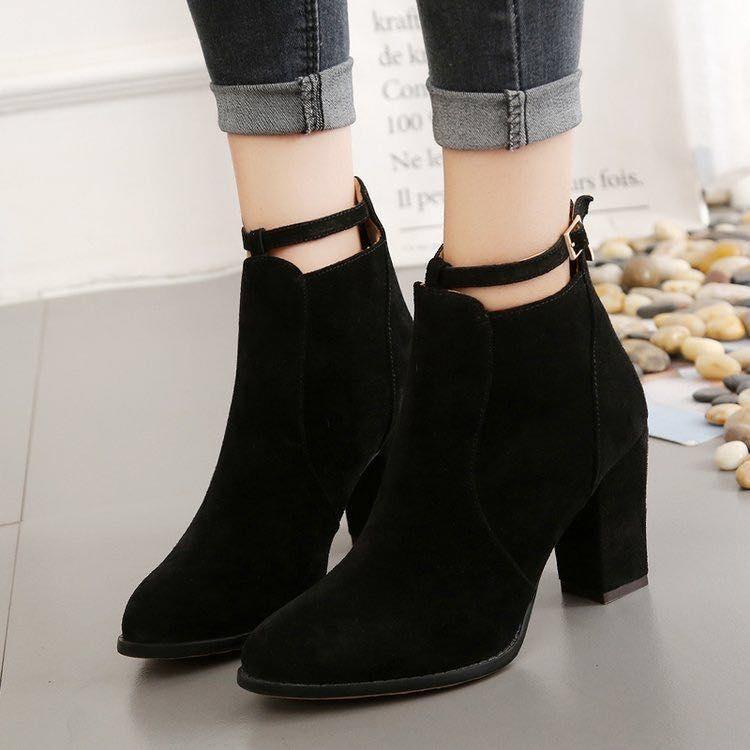Korean 2018 Suede Heeled High Cut Back Zippered Fashion Boots For Women