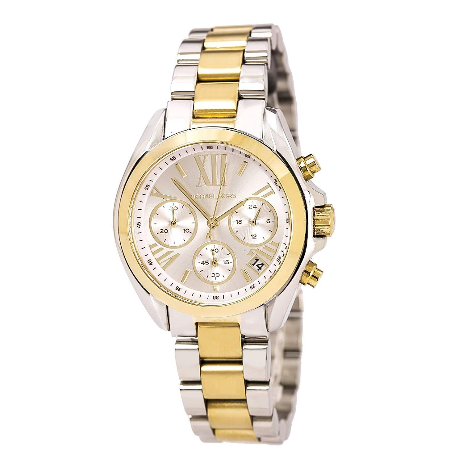 c5c5e60c7e73 MK Michael Kors Mini Bradshaw MK5974 Two-Tone (White Gold) Stainless Steel
