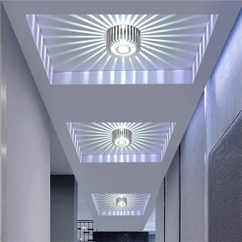 YOCHO 6000K New LED Crystal Aisle Celling Light AC 220V 3W Corridor Lights Embeded Mounted Acrylic