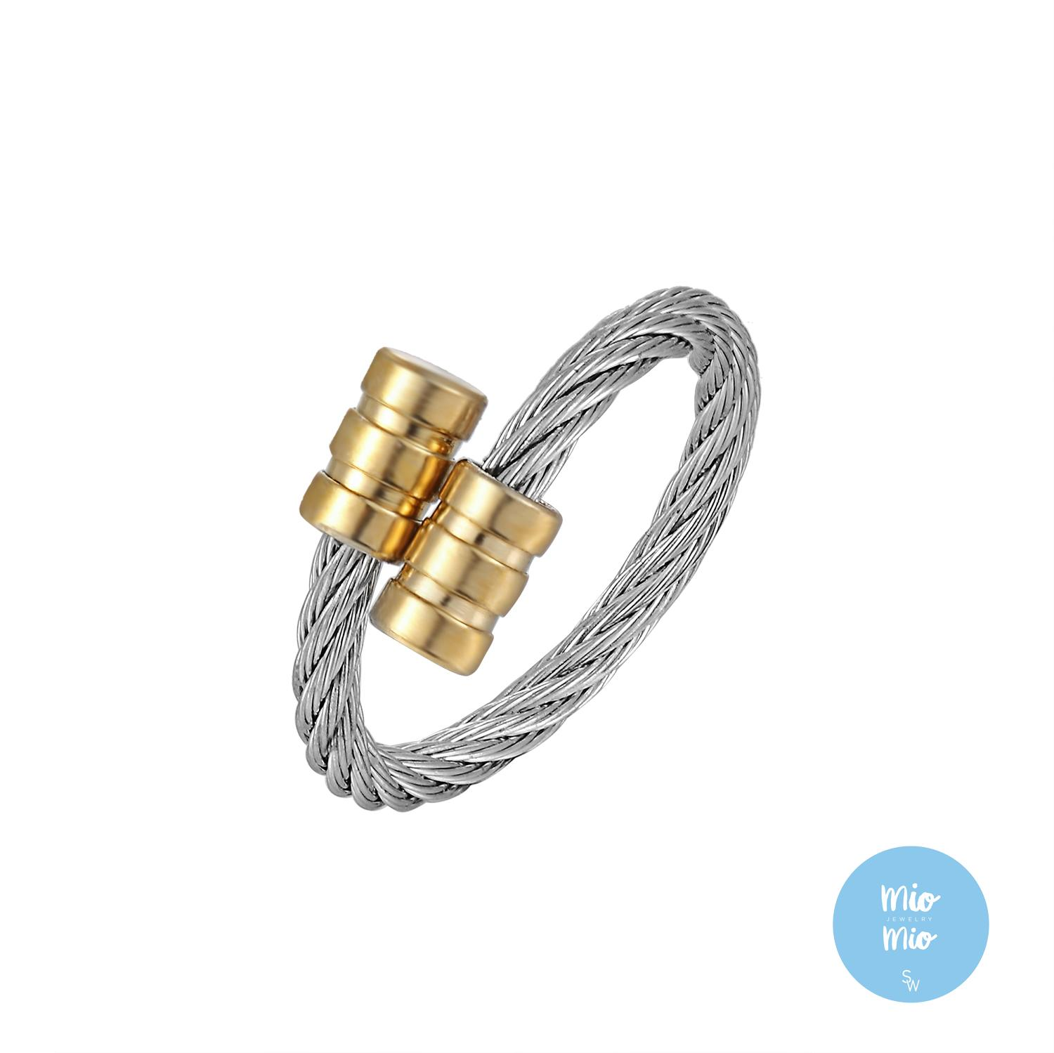 Silverworks X3982 Twisted Cable Ring With Gold Plated End