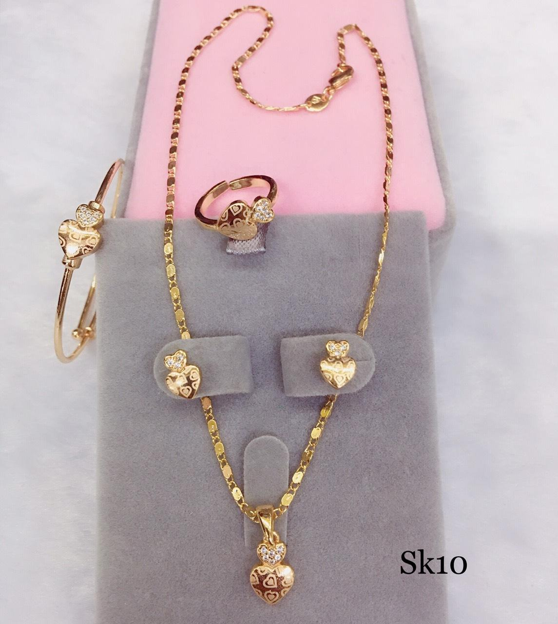 Sk10 High Quality 18k Rose Gold Stainless Steel 4 In 1 Set For Kids By Miss M Shop.