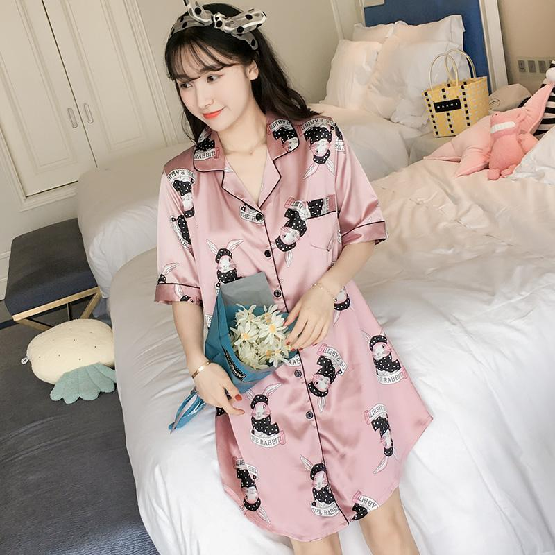 e8775c0b3778 Nightgown Women s Summer Ice Silk Short Sleeve Sexy Loose And Plus-sized  Fat Mm200 Jin