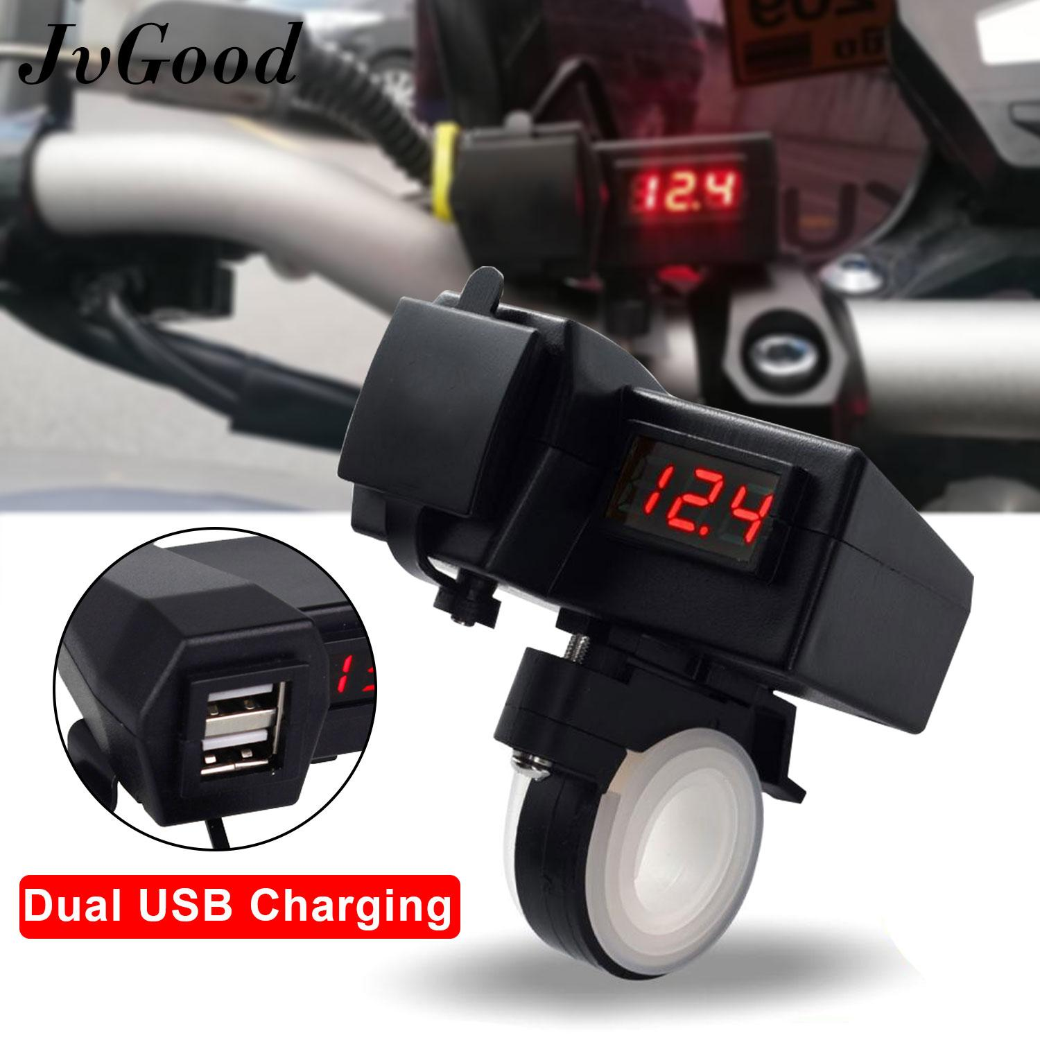 Jvgood Motorcycle Usb Charger With Voltmeter Voltage Meter/switch Motorcycle Gps Cell Phone Power Socket Charger Motorcycle Mobile Phone Power Supply Charger Port Socket Dual Usb By Jvgood.
