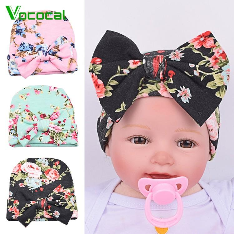 a72827faec9 3 PCS Newborn Infant Baby Hat Hospital Nursery Beanie Hat With Large  Bow-Knot for