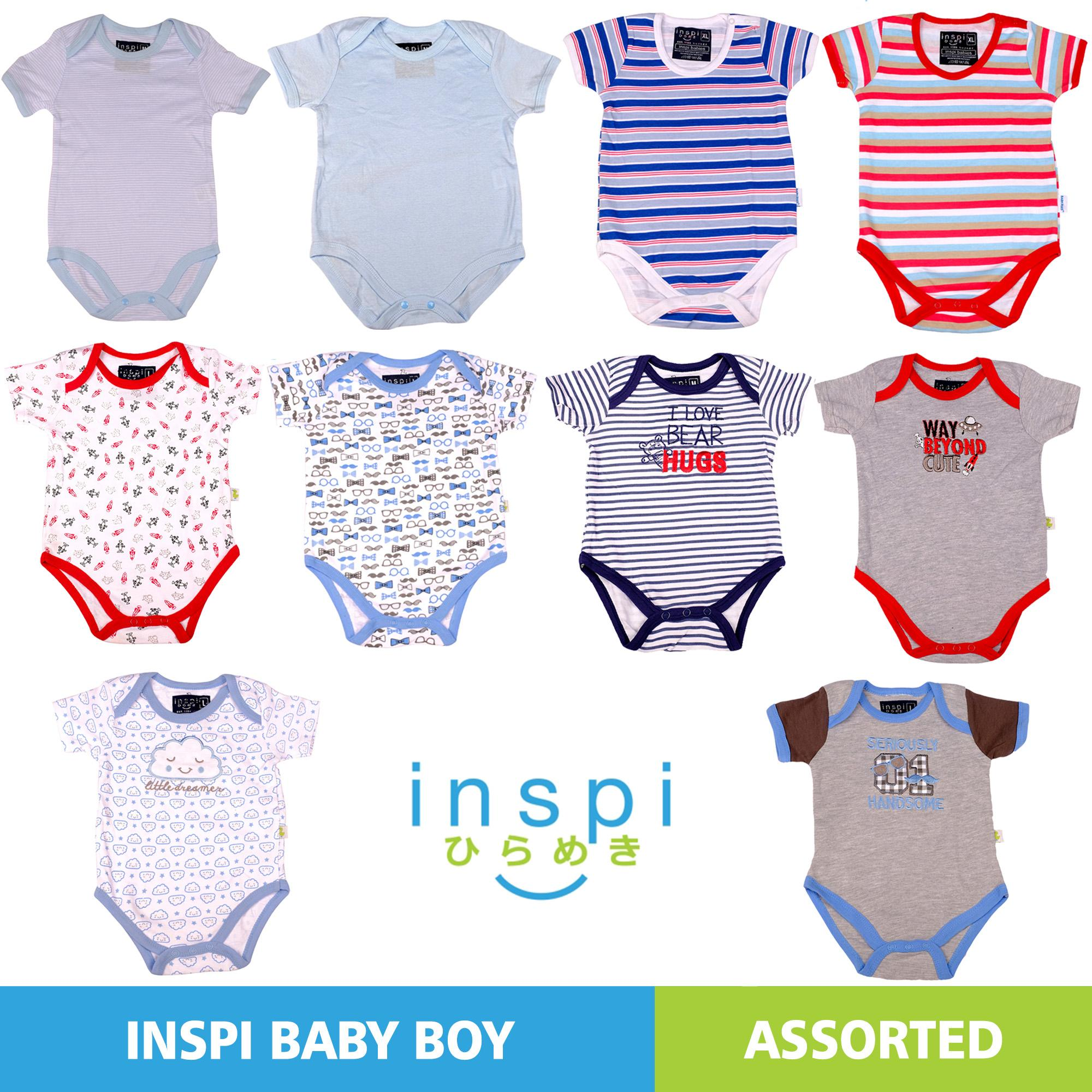 ed6bb27d6f962 INSPI Babies Boys ASSORTED (Set of 2) 100% Cotton Onesies Newborn Infant  Quality