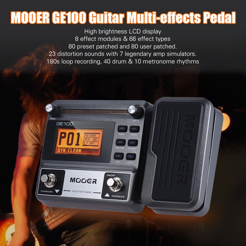 (free gift)MOOER GE100 Guitar Multi-effects Processor Effect Pedal with  Loop Recording EU plug