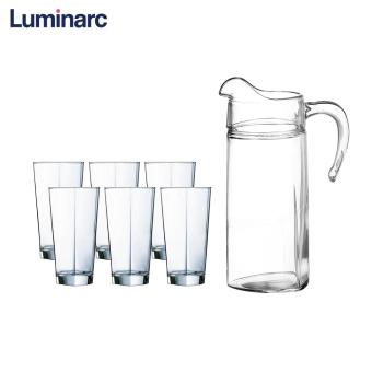 Luminarc Delta Heat-Resistant Glass Kettle of Cold Water Bottle Cooler Drinkware Jugs Pitchers 7pc Drink Set