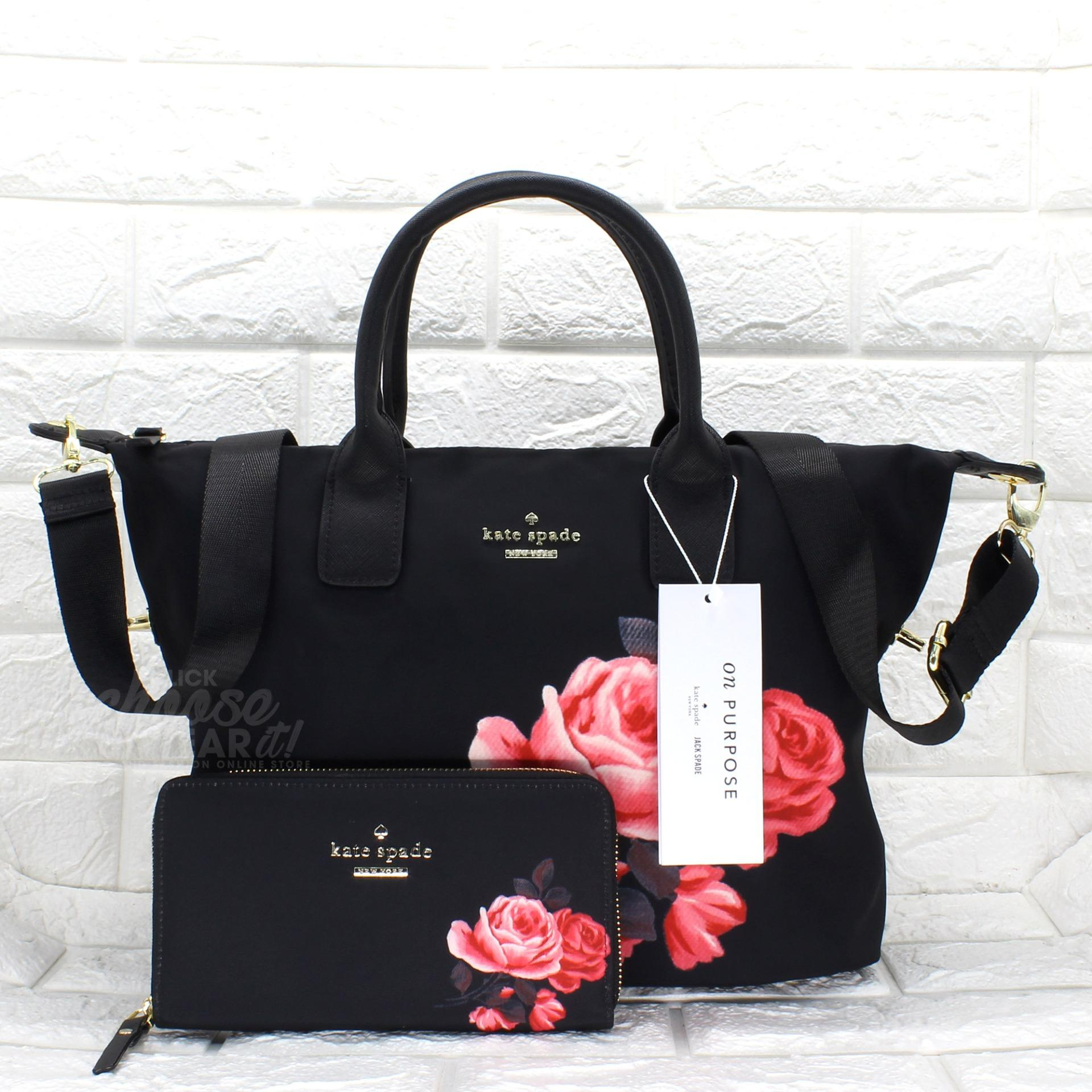 Authentic Kate Spade Classic Weekender Bag Lyla Rose Nylon Tote Wallet With Printed