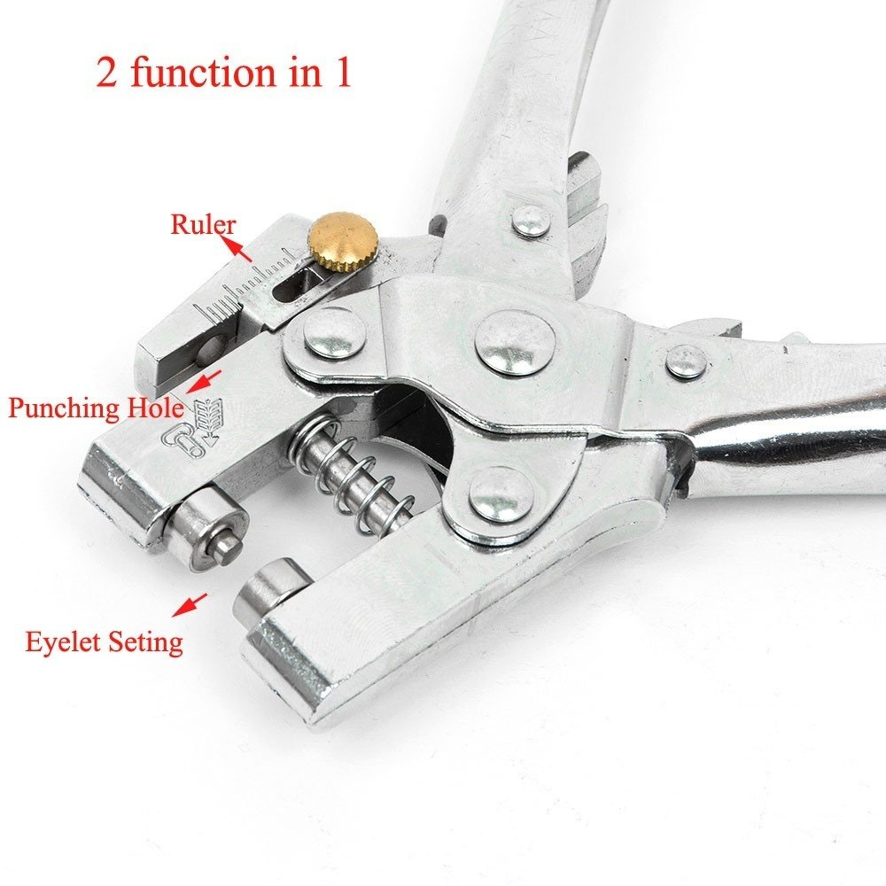 2in1 Hole Setting Plier Cloth Punch Eyelet Button Leather Card Shoe Grommet Bag/_