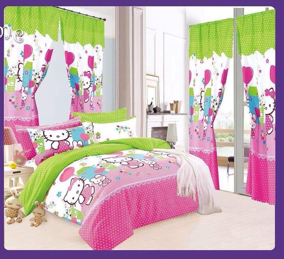 bfc818f294c Amber wang 5 In 1set Bedsheet with curtain Queen Size