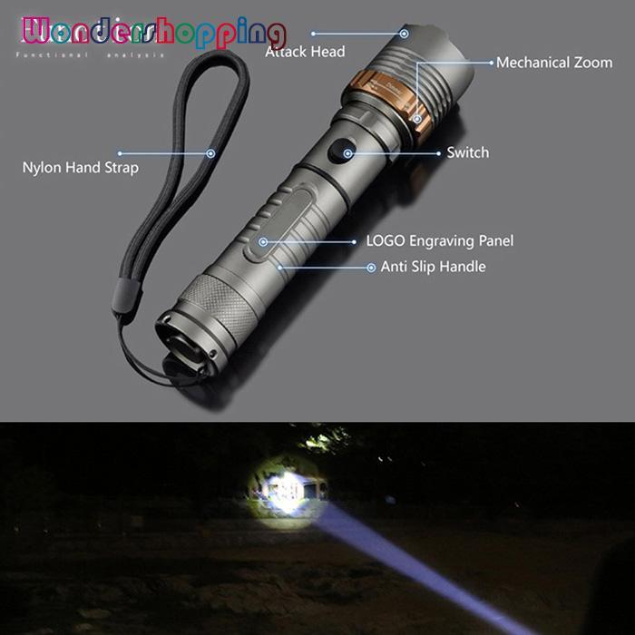 WONDERSHOP Tactical LED Zoomable Flashlight with Charger - intl Philippines