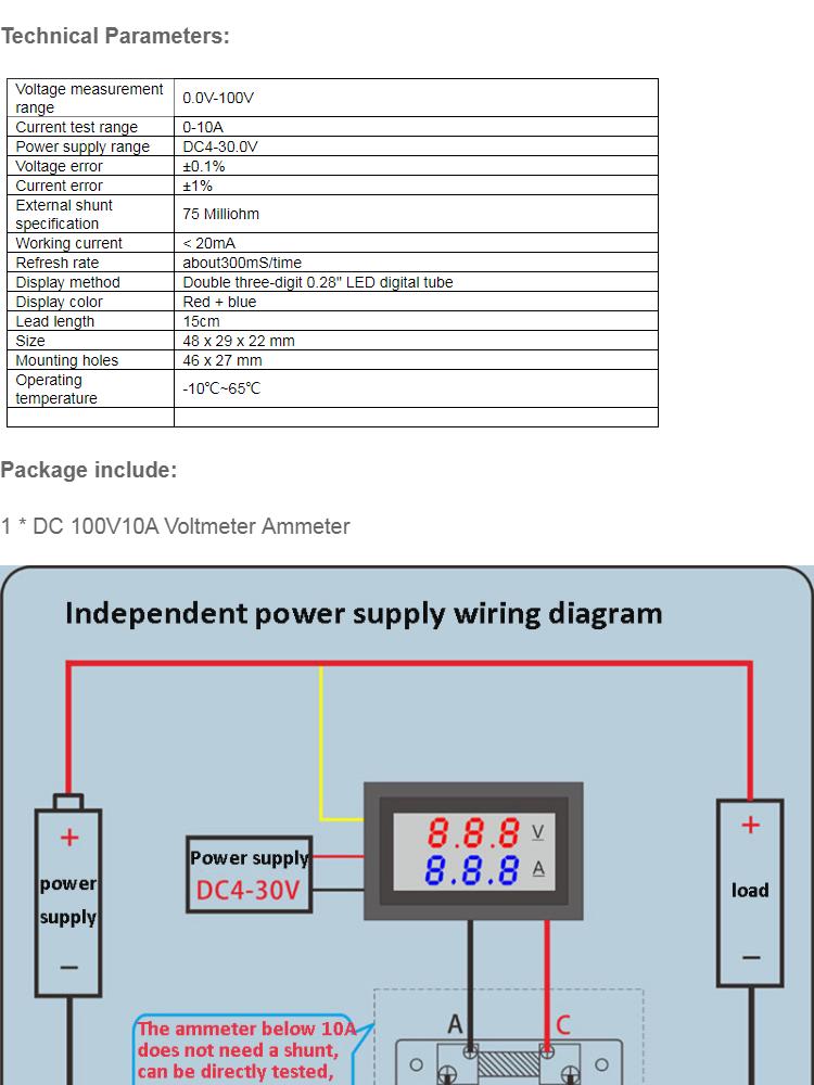Mini Digital Voltmeter Ammeter Dc 100v 10a Panel Amp Volt Current Meter Tester 0 28 Blue Red Dual Led Display With Lines Lazada Ph