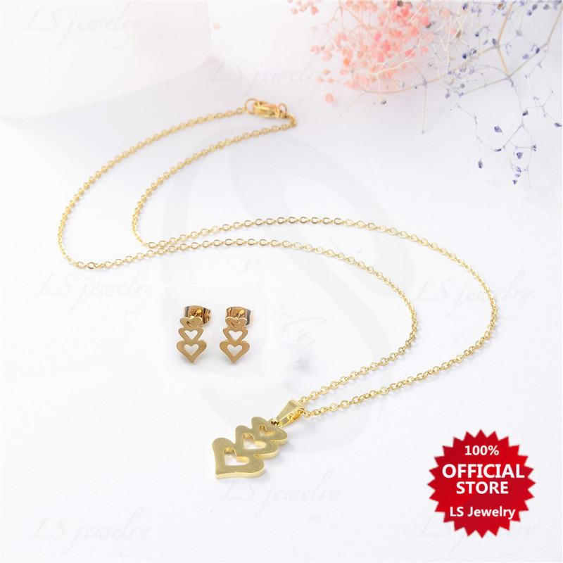 LS jewelry Fashion 14K Gold plated Stainless steel necklace and earrings set S2039