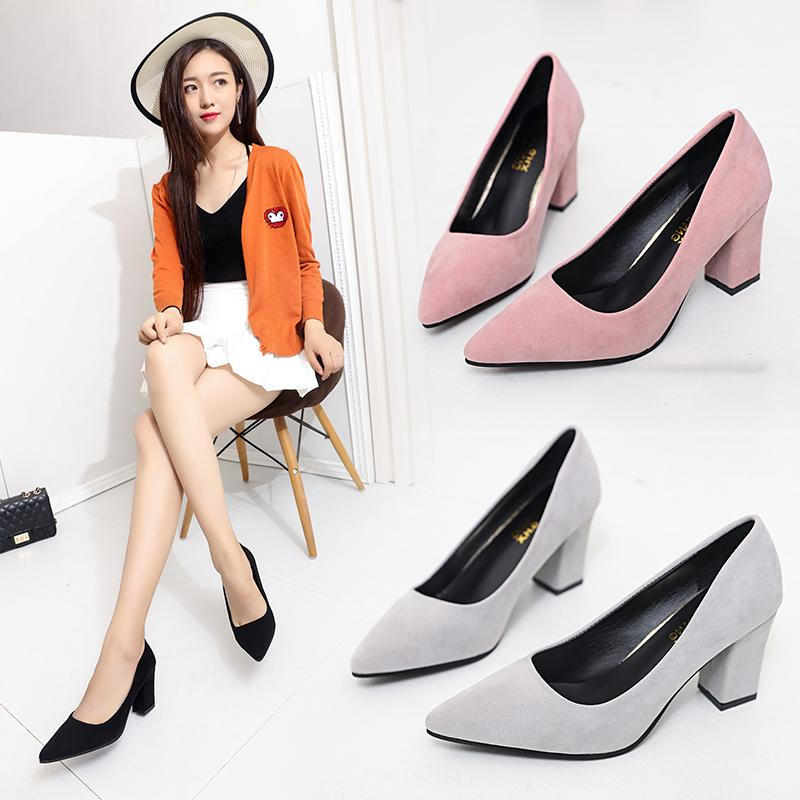 2017 Spring High Heel Shoes Korean Style Fashion Block Heel Pointed Shallow  Mouth Black SINGLE- dc701fb7a3c6