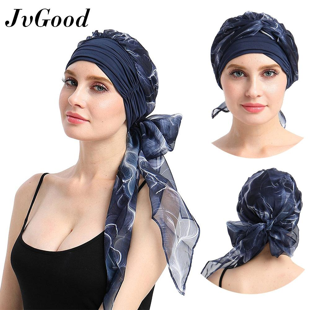 17737205bd6 JvGood Headwear Turbans Muslim Wear Women Long Hair Head Scarf Hijab  Headwraps Cancer Hat Head Wrap