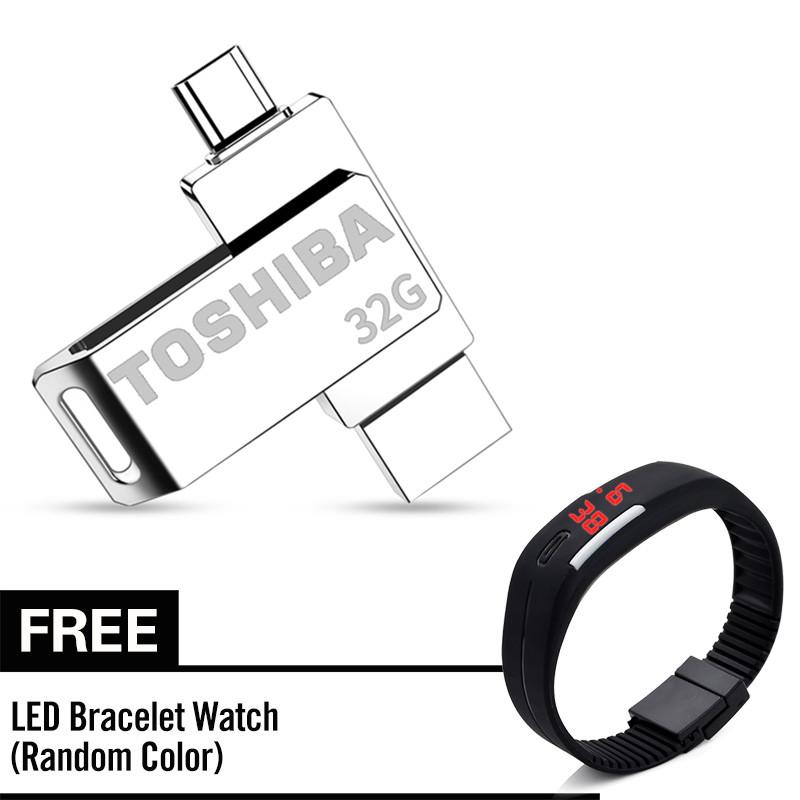 Toshiba 32gb 2 In 1 Micro Usb Otg Flash Drive Usb 2.0 Zinc Metal U Disk Compatible With Android Devices With Free Kids Led Watch By Ambertradehl.