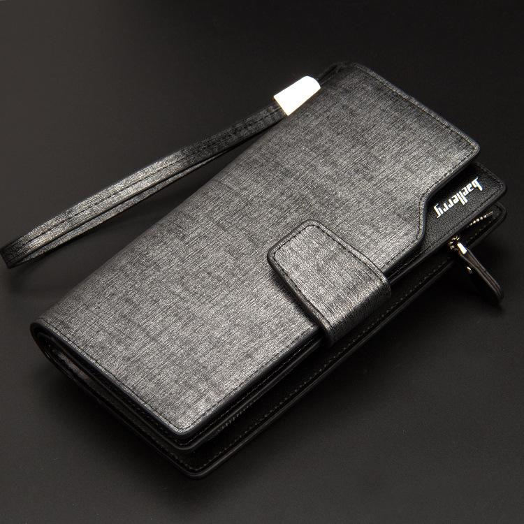 Baellery Men Long Wallet Leather Hand Bag Credit Card & Coin Holders with Hand Strap Sliver