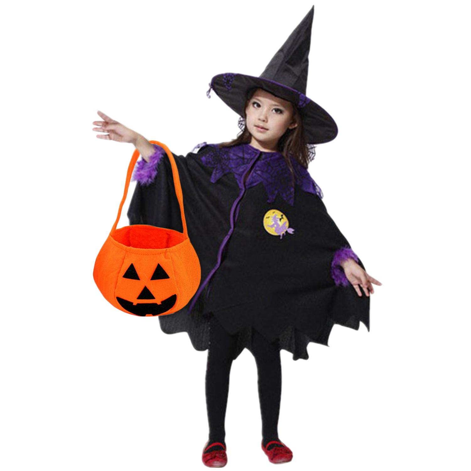 kid boys girls witch costumes with pumpkin bag cloak cape hat for halloween cosplay role play