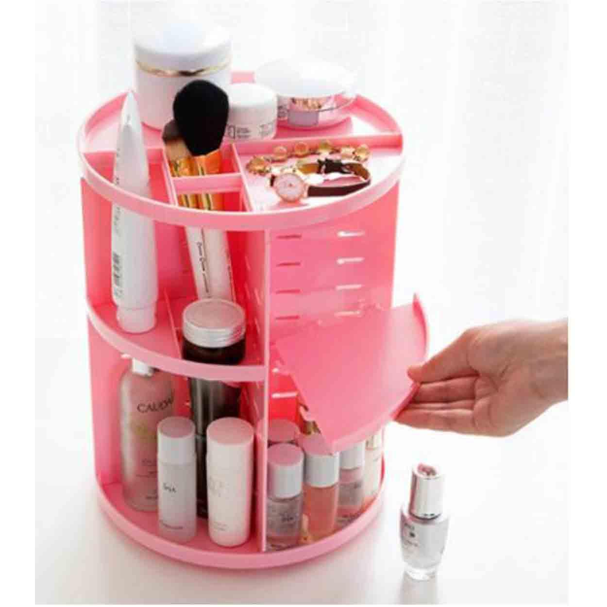 (Pink) 360 Rotating Make up Organizer 360 Degree Rotating Cosmetic Storage Display Make Up Rack Beauty Care Holder Rack Clear Cosmetic Drawers Jewelry Makeup Storage Display Organizer Box Philippines