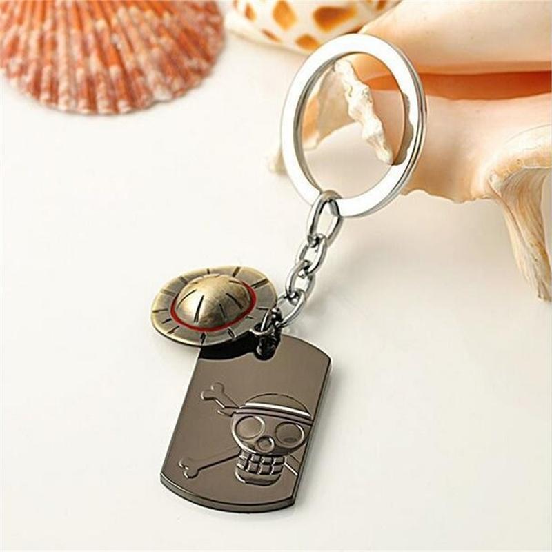 Anime One Piece Luffy Straw Hat Skull Stainless Steel Keychain Key Ring