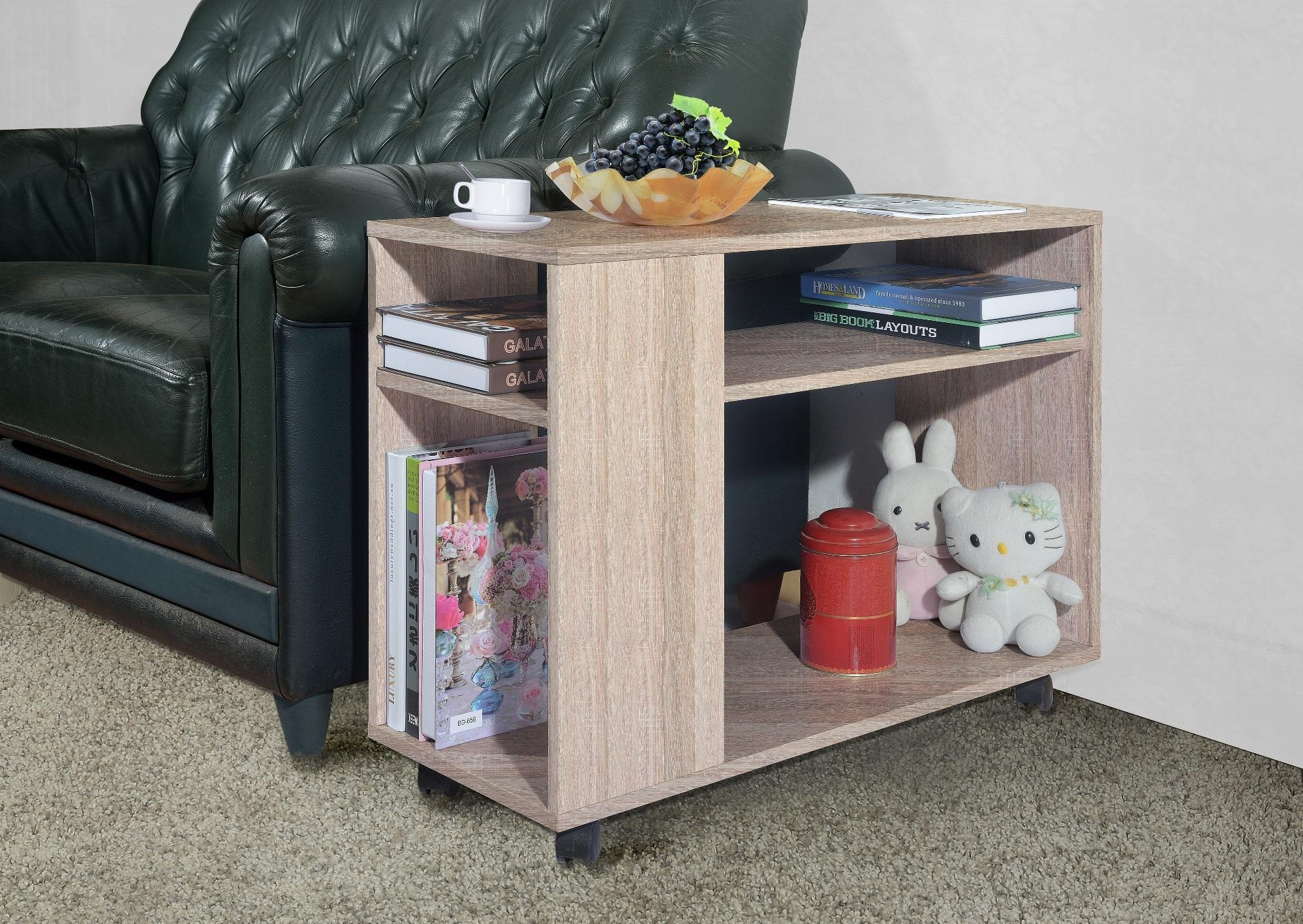 Primetime Modern Melamine Side Table With Bottom Storage Shelf And Casters By Direct2u.