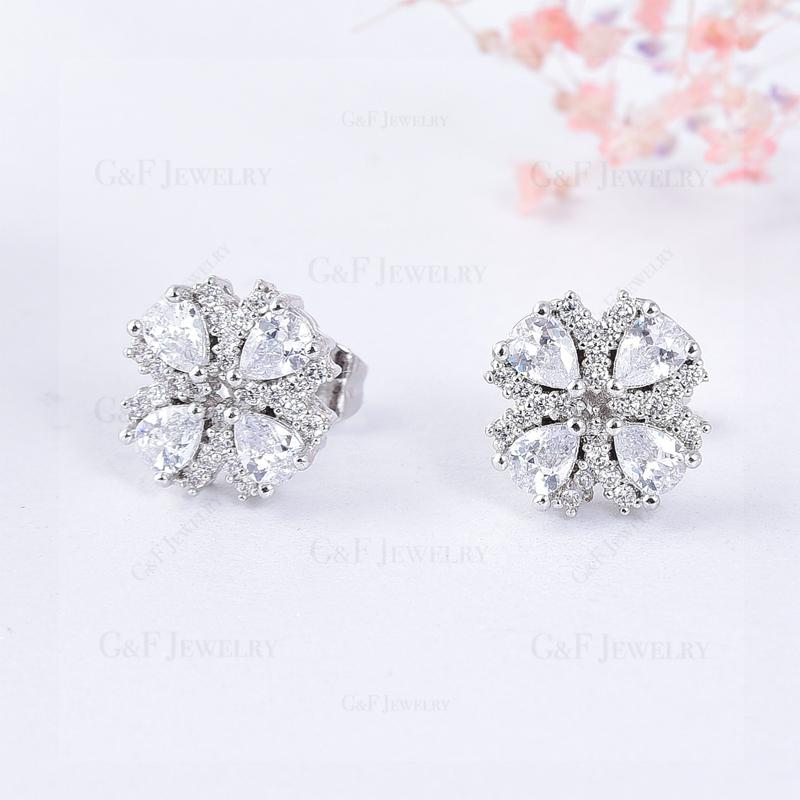 GF&Co.18K White Gold Plated Zircon Earring For Women EZ1040-S