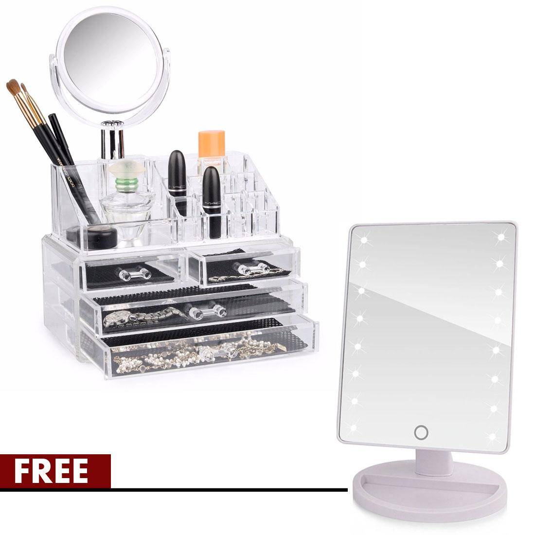 Stylish High Fashion 4 Doors Acrylic Cosmetic Make Up Organiser With Mirror Free Xr