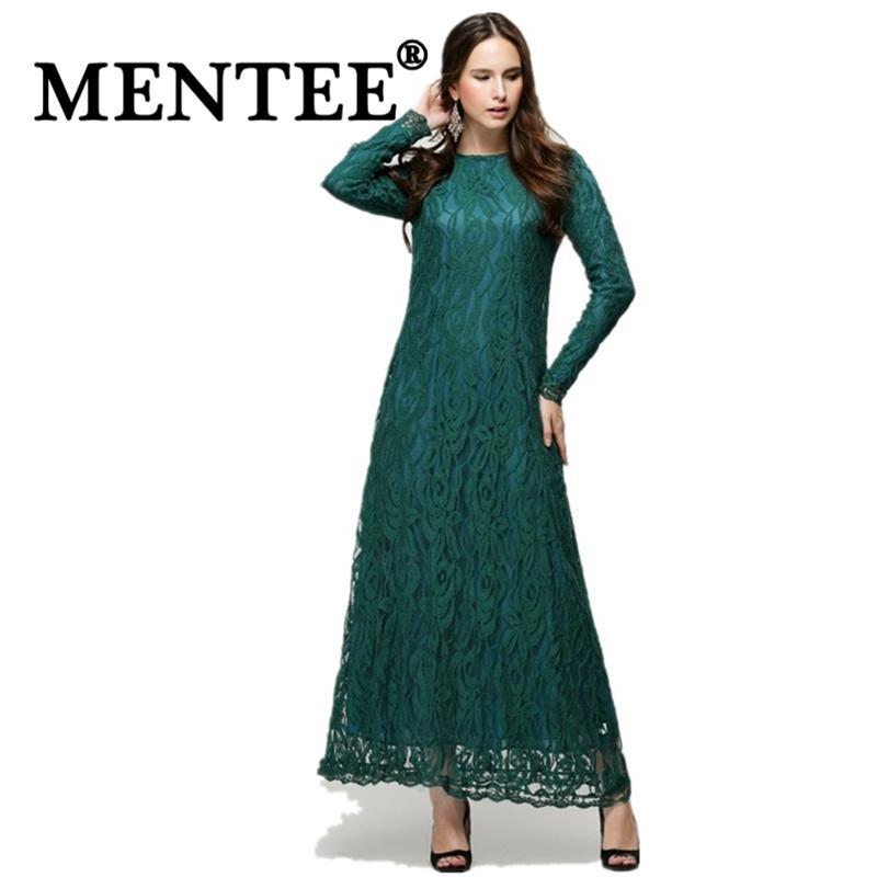 05cee26315 MENTEE Muslim Women Clothing Fashion Abaya Islamic Women Long Dress Lace  Dress