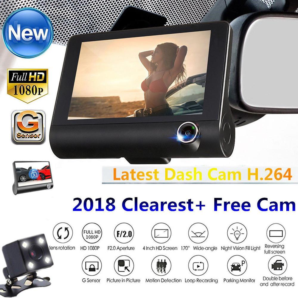 New 4 Hd 1080p 3 Lens Car Dvr Dash Cam Vehicle Video Recorder Rearview Camera By Luckyflower.