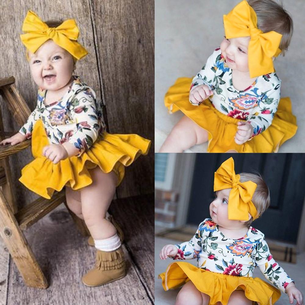 e0ec0125001d Tideshop Newborn Infant Baby Girls Floral Romper Skirt Headbands Outfits  Clothing Set