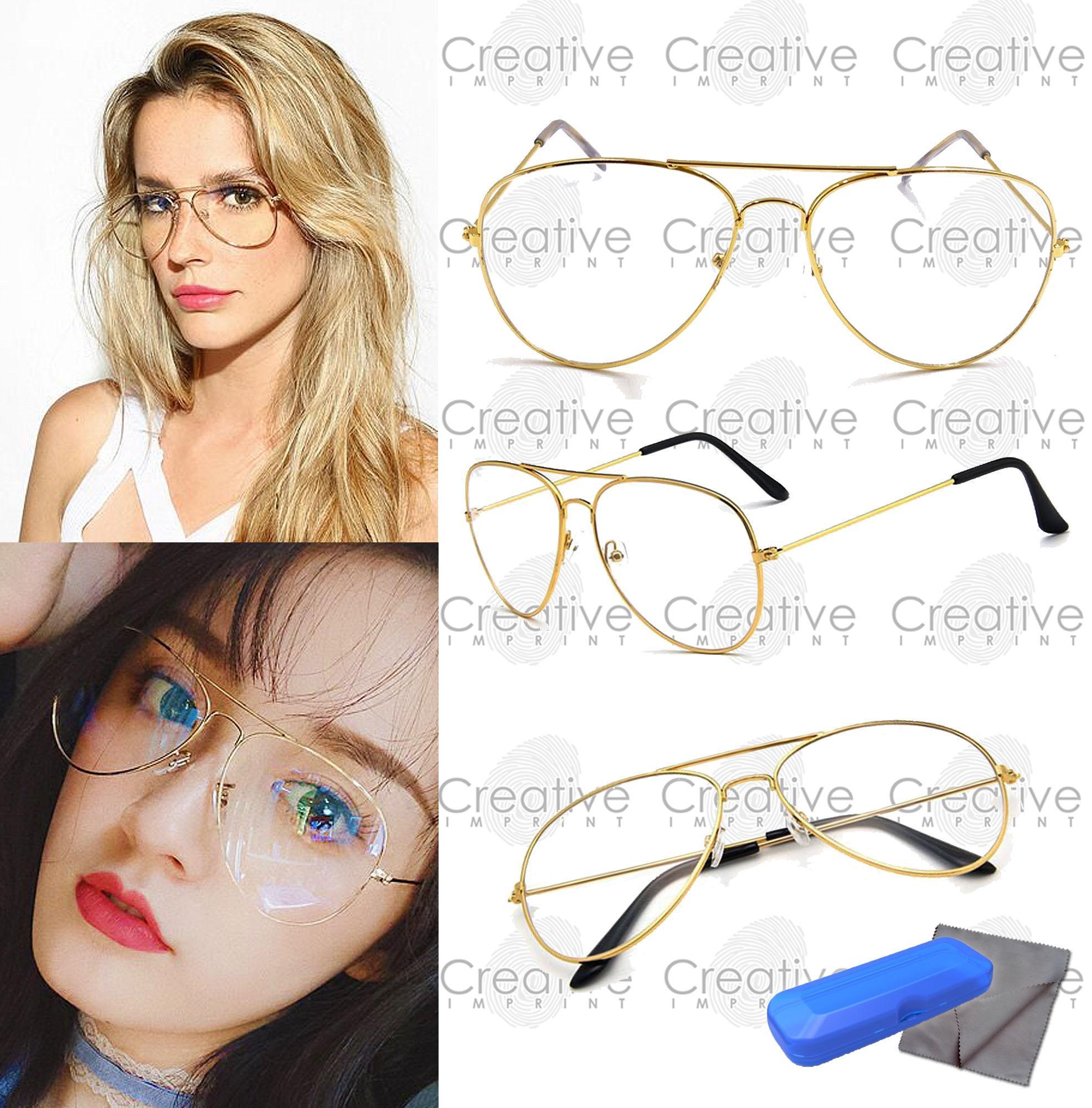 cd290bf7fd1 Creative Imprint Aviator Teardrop Pilot Specs (Clear Lens Gold Frame) Sunnies  Trendy Fashion Eyeglasses