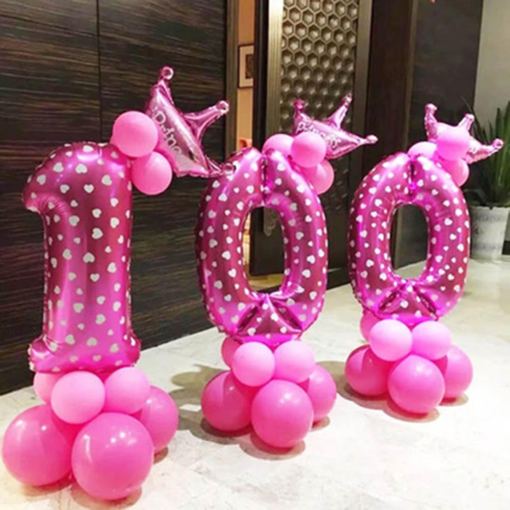 MeiYang Oversized 32 Inch Pink Blue Number Aluminum Birthday Wedding Party  Decoration Supplies Without Ballons