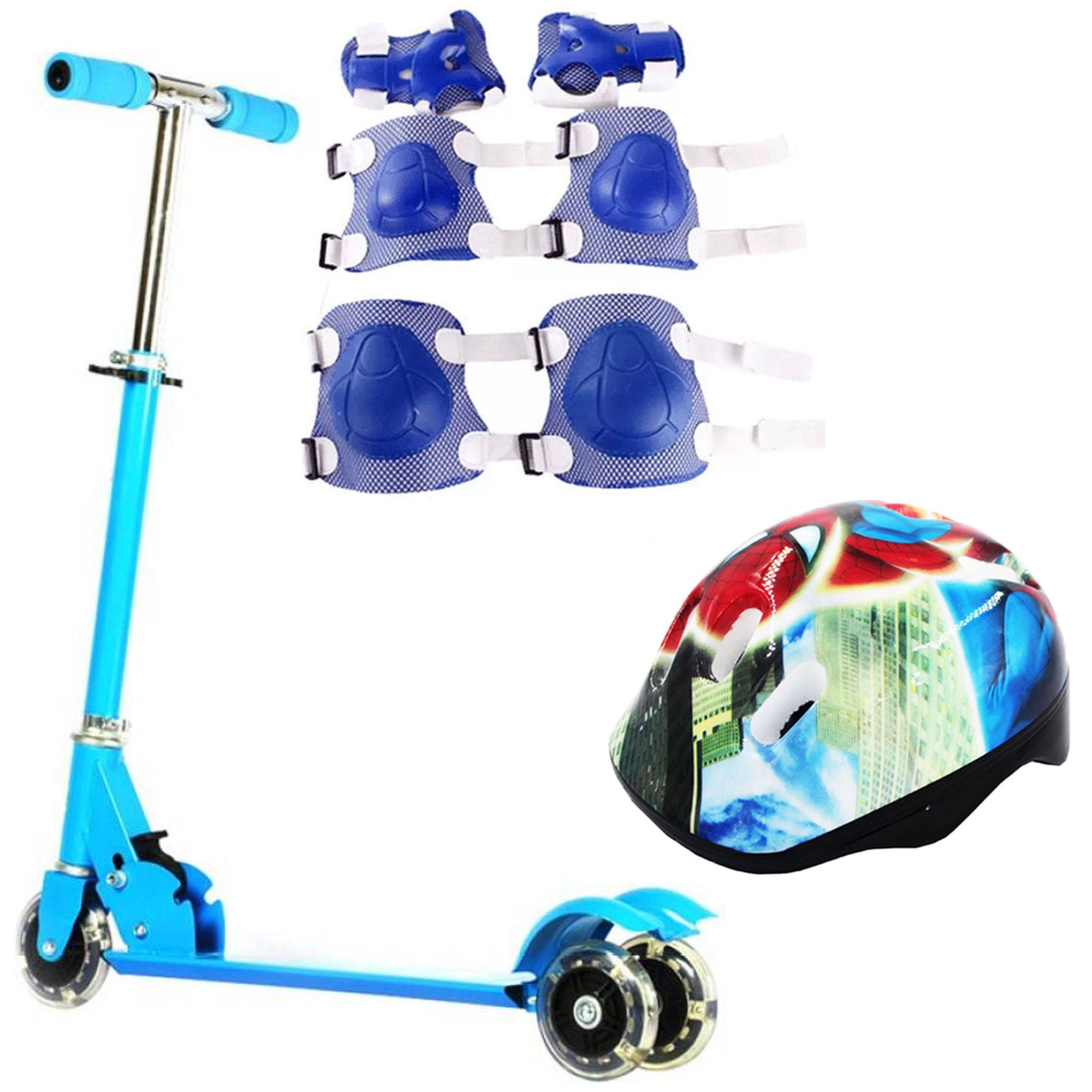 Little Jr 3 Wheels Scooter (light Blue) With Kids Helmet Blue And 6-Piece Set Protective Pad Blue 1 Set By Gonzalez General Merchandise.