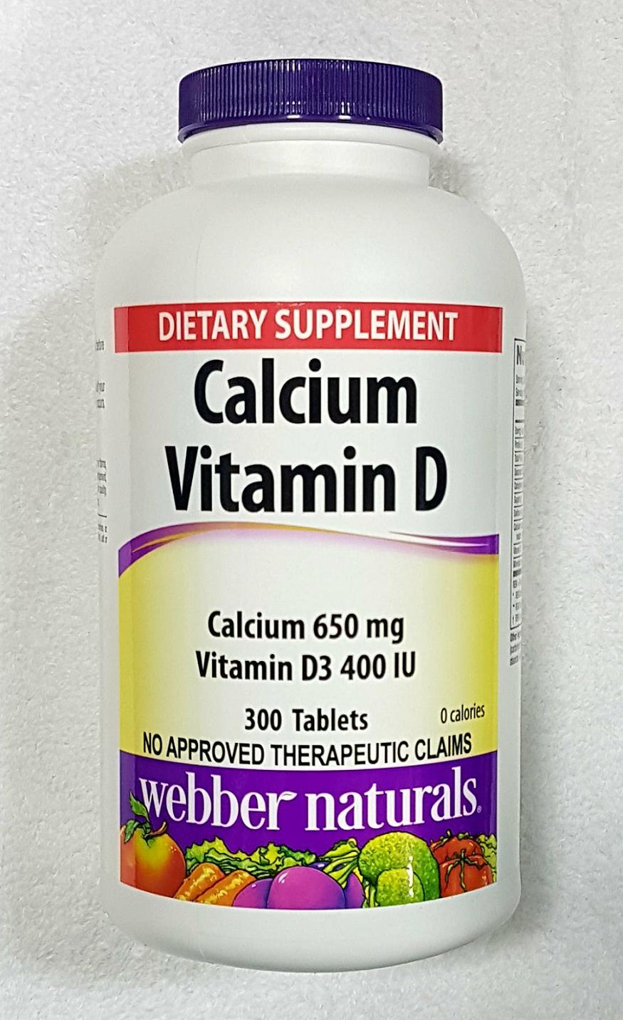 Authentic Webber Naturals™ Calcium (650 mg) w/ Vitamin D3 (400 IU), 300  tablets