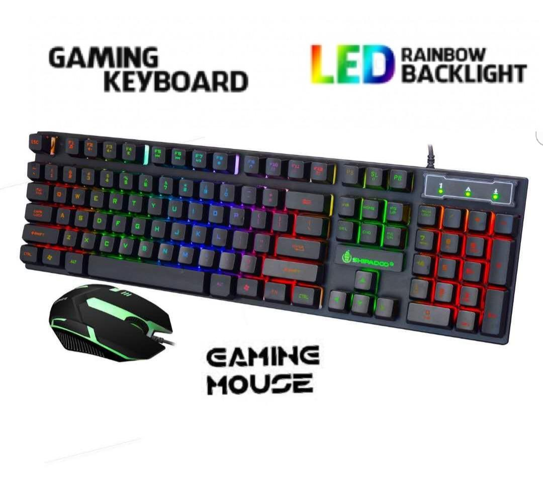 Wired Illuminated Gaming Keyboard and Mouse Combo Universal Keyboard with  mouse and Rainbow Backlight