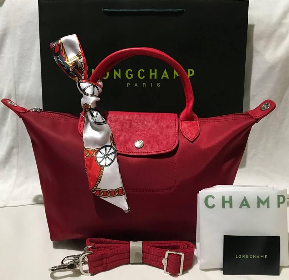 Authentic Made In France Longchamp Neo Medium Violet Philippines Lc006 Le Pliage Large Long Handle Llh Tote Bag Champ Red With Twilly