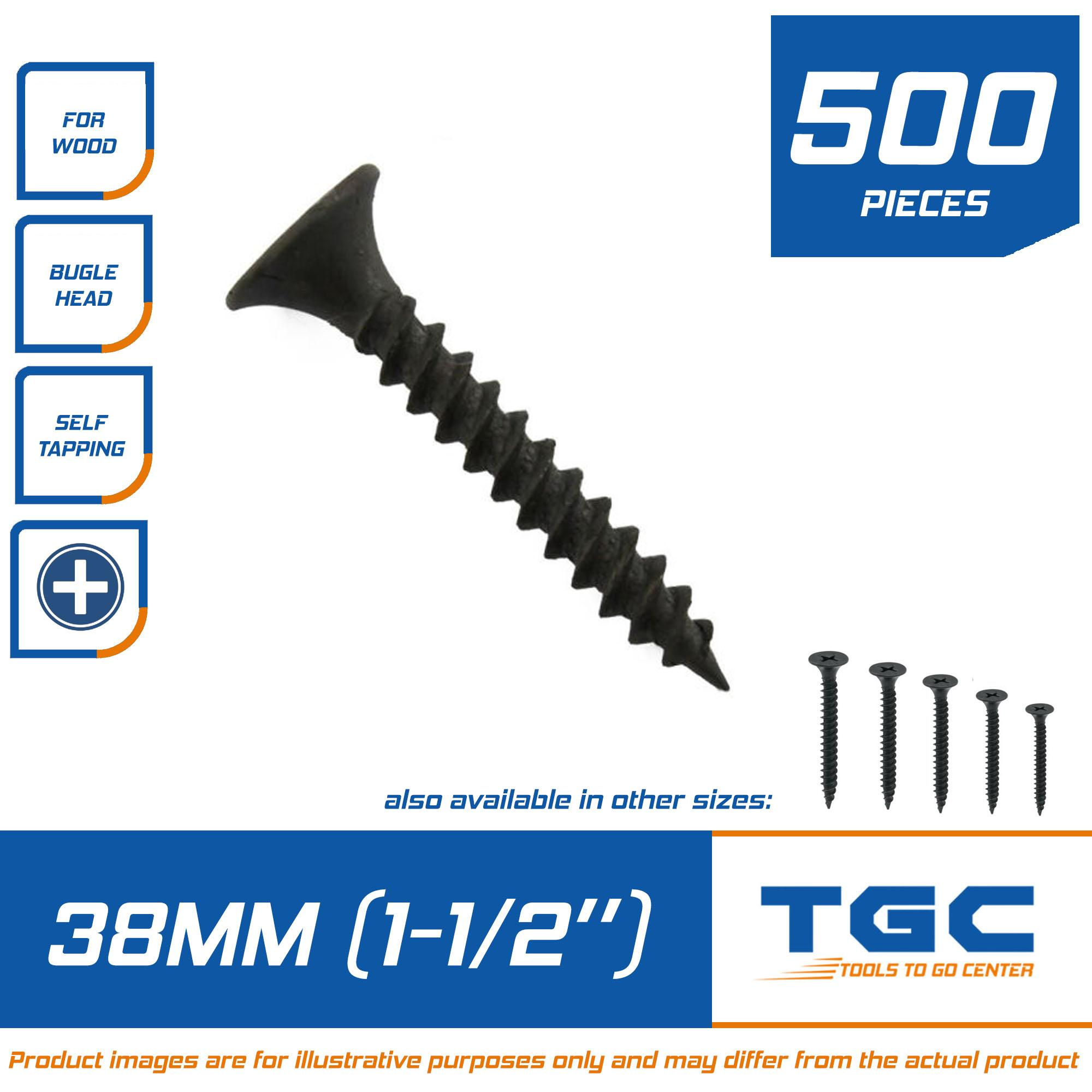 500 PCS Black Screw 1 1/2 inch ( 38 mm ) for wood Gypsum Screw Drywall  Screw Grabber Self Tapping