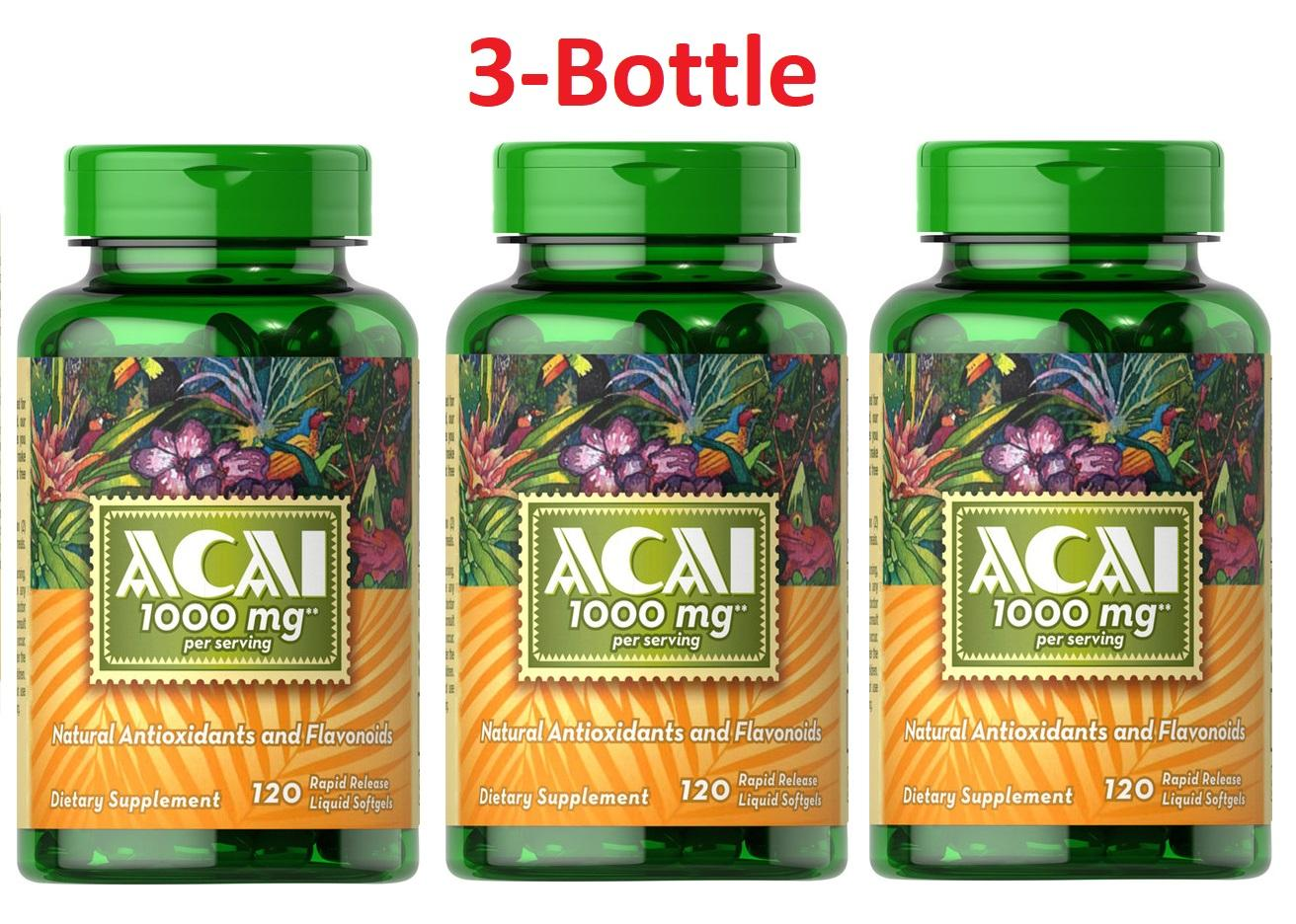 Acai Berry 1000mg Organic with Flavonoids, Anti-aging and Immunity 120 Sg, Puritan's