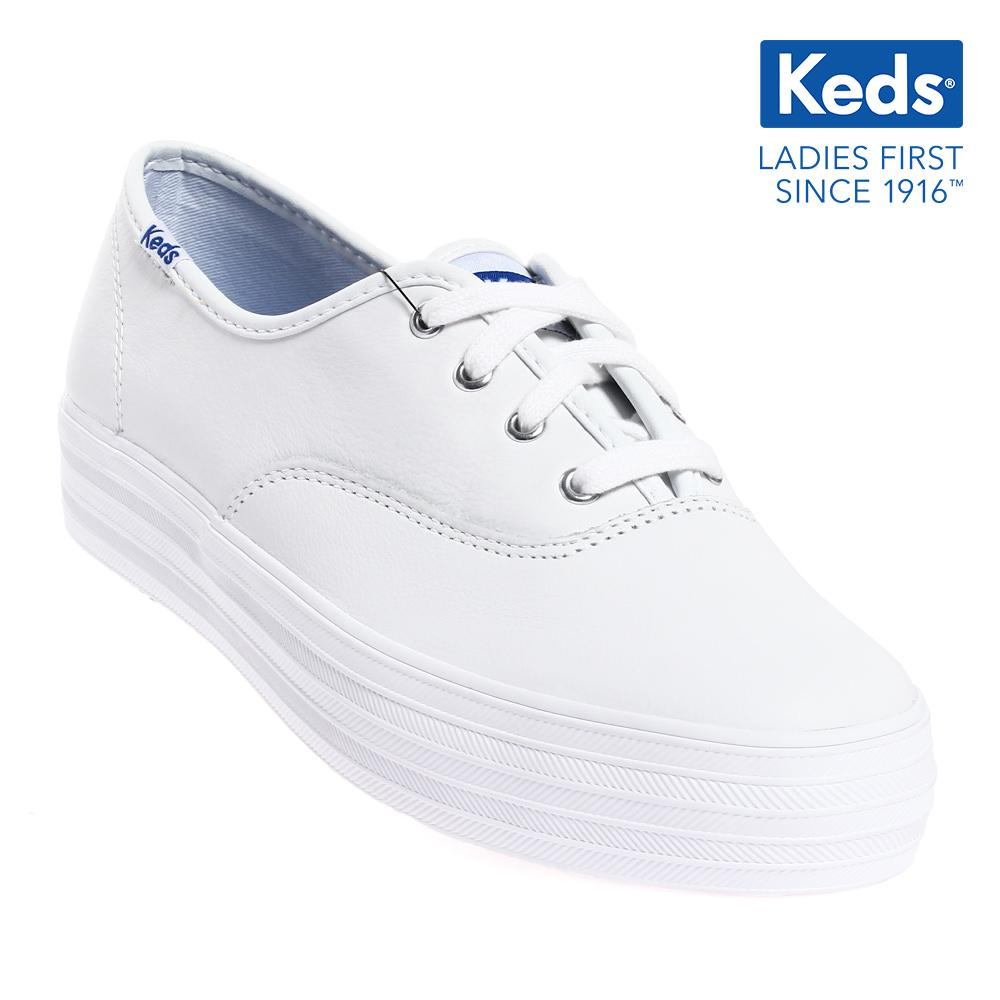 1e6d3b1f40e84 Keds Triple Leather CVO Lace-up Sneakers (White) WH55748