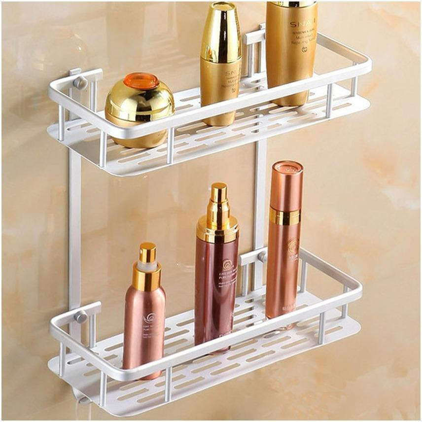 Rectangle Shape Dual Layer Aluminum Bathroom Shelf By Gonzalez General Merchandise.