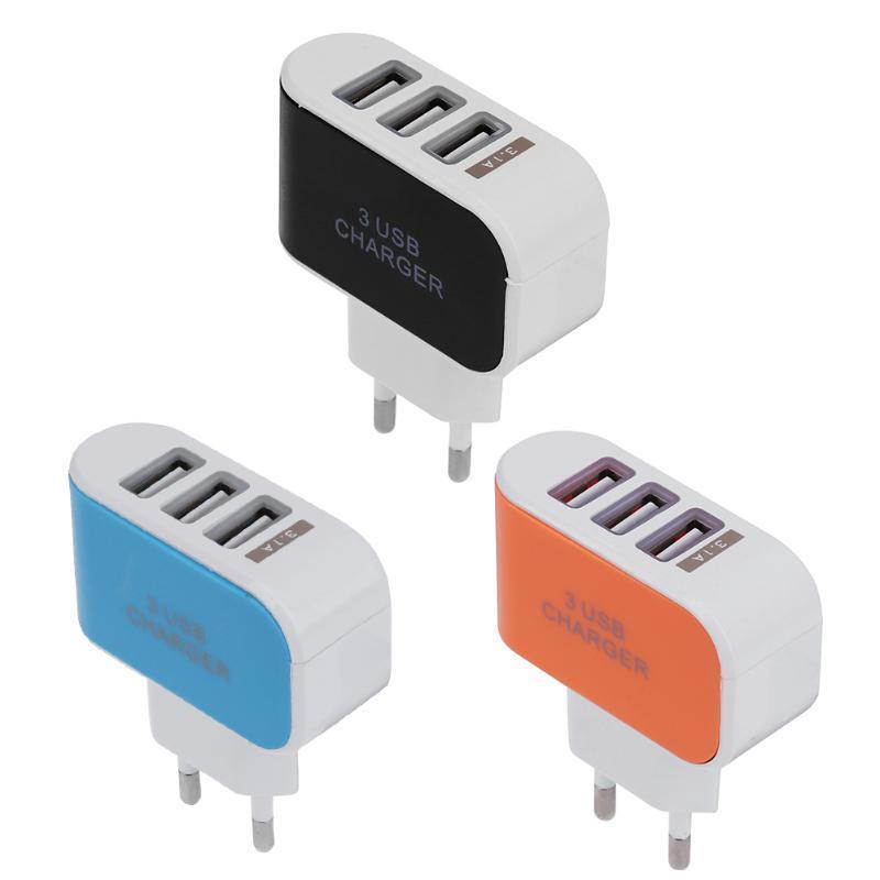 Alloet 5V 2A EU Standard Plug Charger Adapter 3 USB Hub Port Power Supply Charging Plug