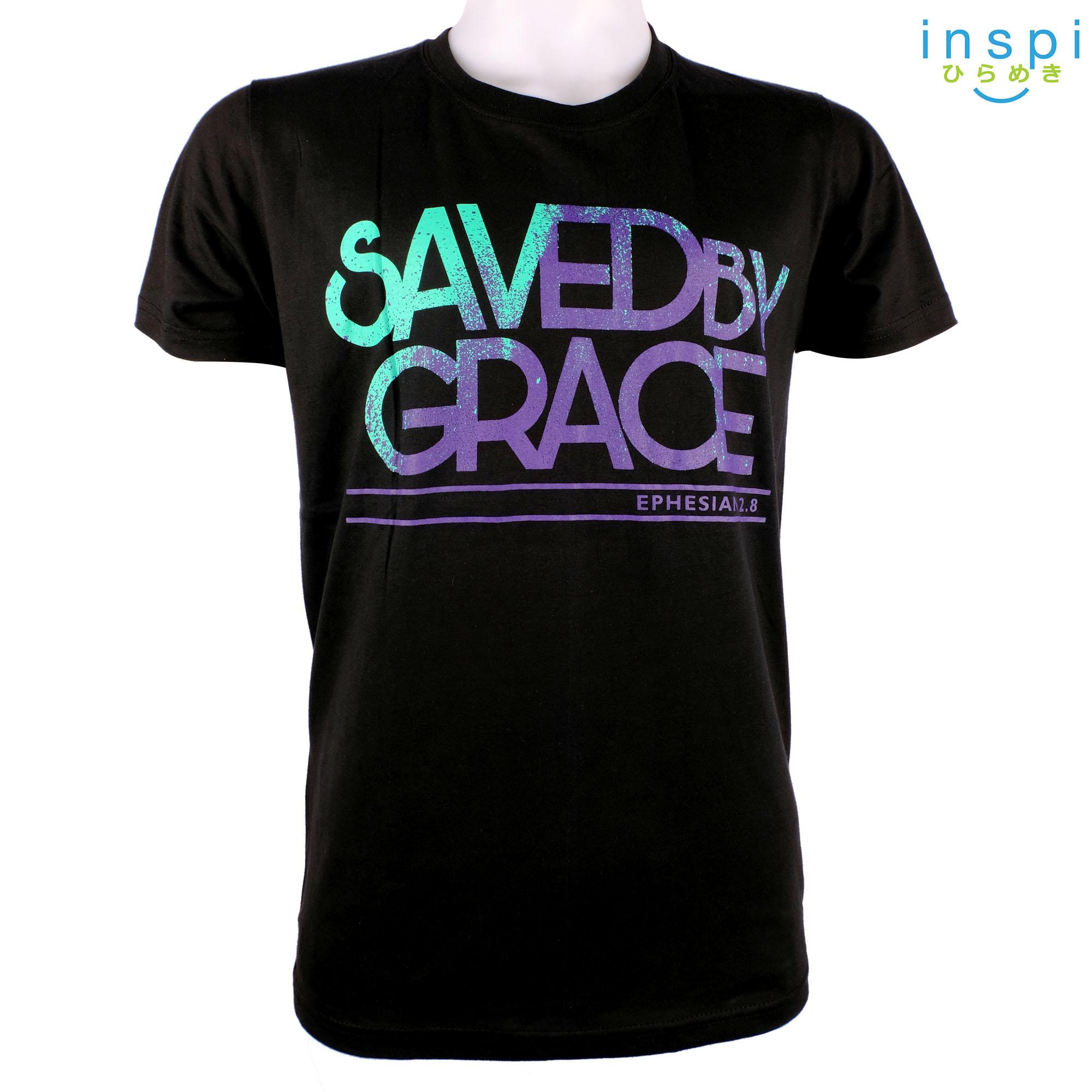 196e6c366a7344 INSPI Shirt Saved by Grace (Black) tshirt printed graphic tee Mens t shirt  shirts