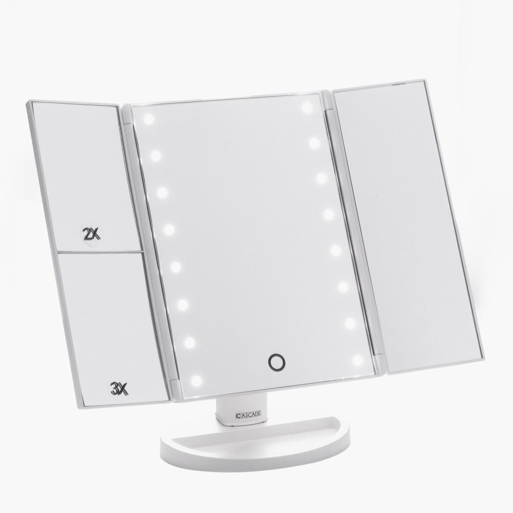 Cascade Portable Tri-fold Make-up Mirror with LED Light (White) Philippines