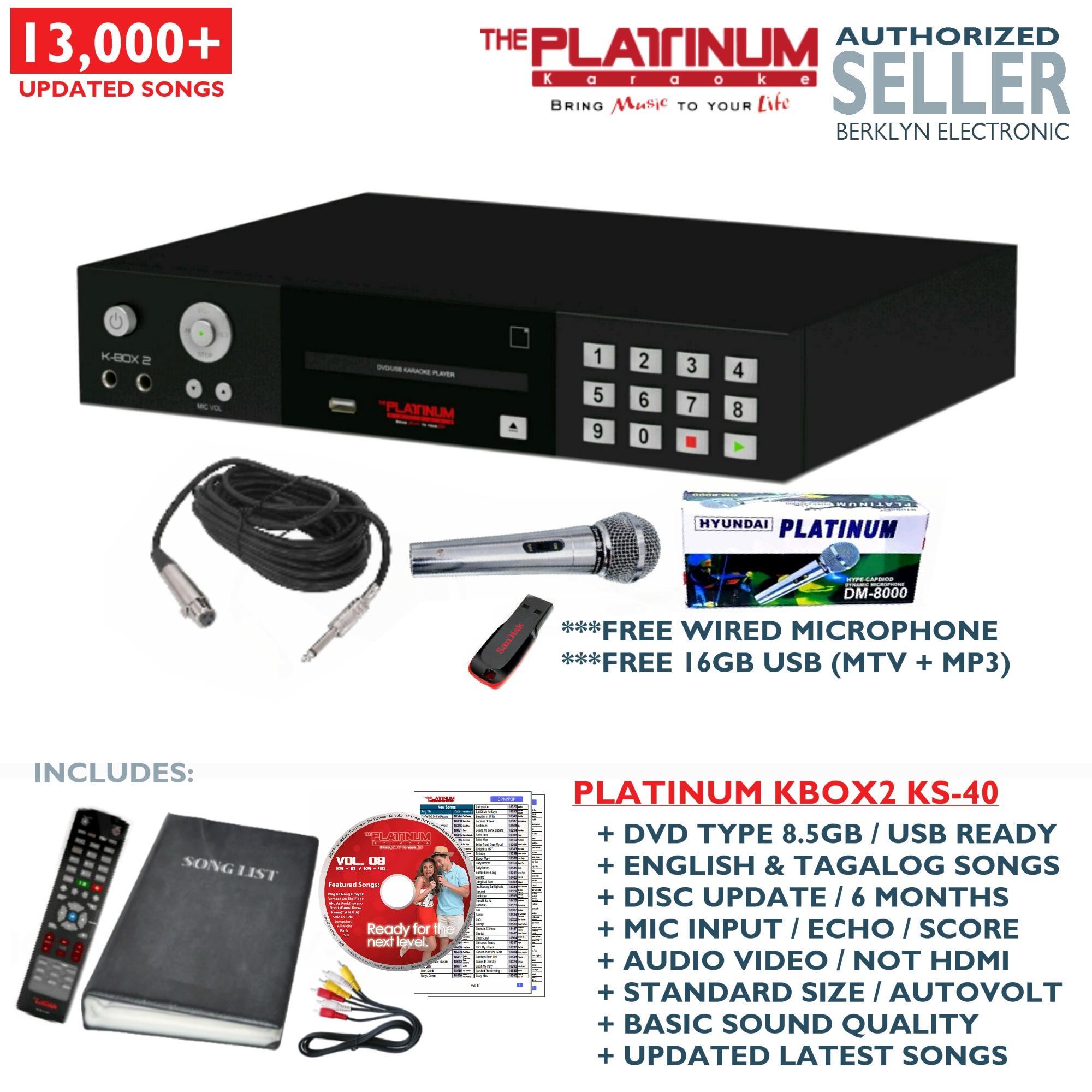 (Free Mic + USB 16GB) Platinum KBOX2 Karaoke Player + DVD + Songbook +  Remote (14000+ Songs)