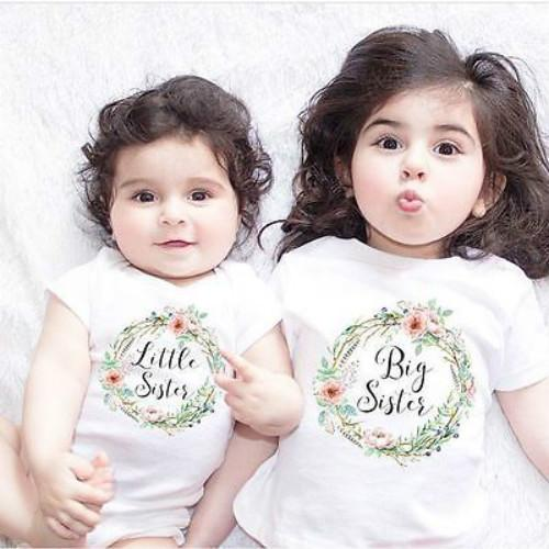 Baby Kids Girls Little Big Sister Match Clothes Jumpsuit Romper Outfits T Shirts - intl